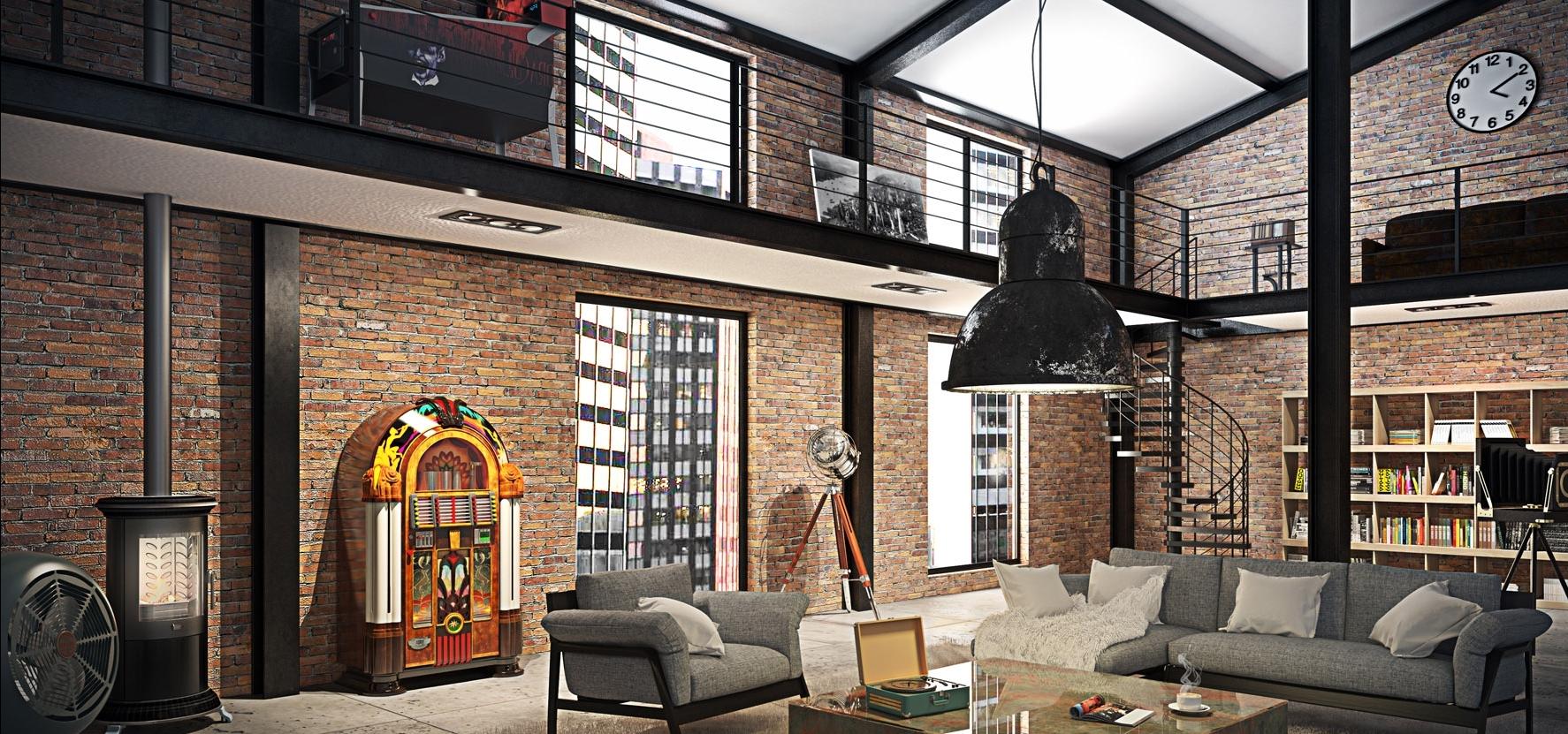 décoration brique rouge style loft new yorkais